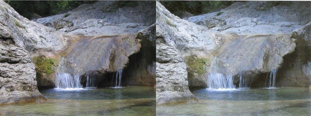 Лица и фигуры на камнях и на воде